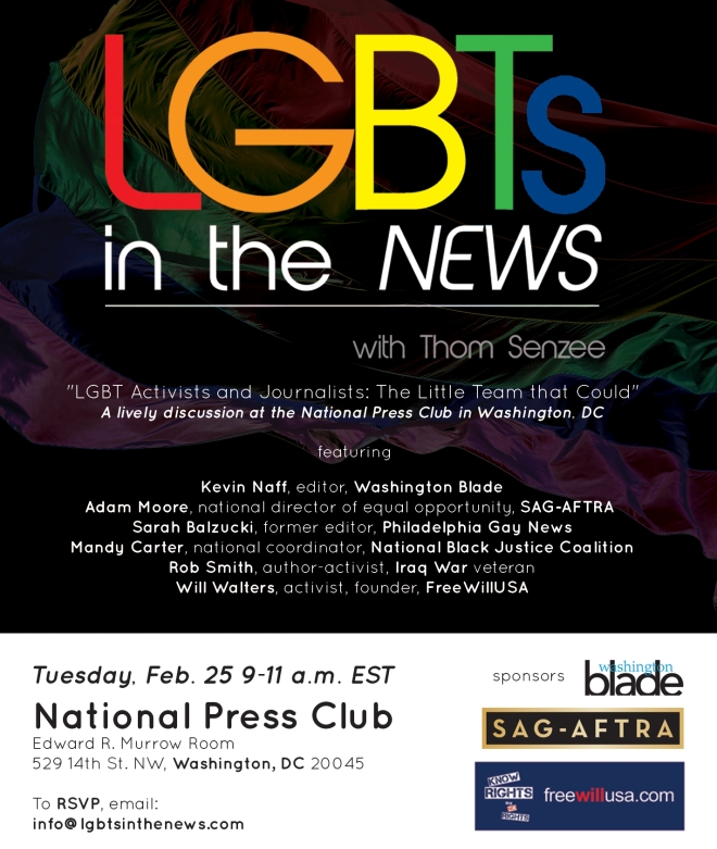 LGBTs In The News comes to Washington D.C. at the National Press Club, Feb. 25