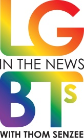 "Rainbow gradient colored logo reading ""LGBTs In The News with Thom Senzee"""